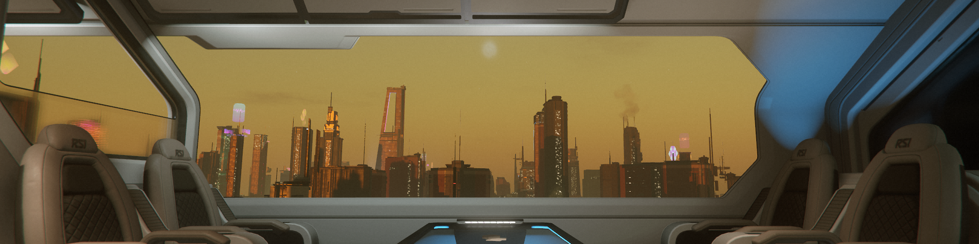 City skyline seen through the window of a space ship landed on a rooftop pad.